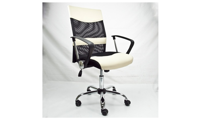 ... Dailyselections: Apontus Office Chair Mid Back Mesh Desk Chair, Black  And Cream ...