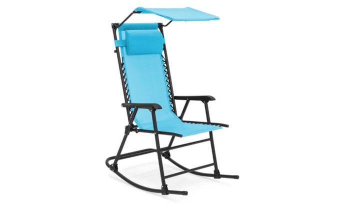 - Foldable Zero Gravity Rocking Patio Recliner Chair W/ Sunshade LB