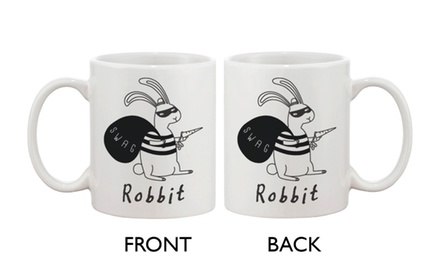 Funny and Cute Bunny Ceramic Coffee Mug - Robbit with Swag Bag