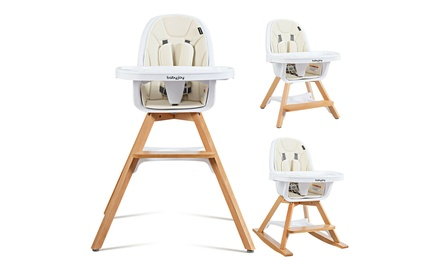 Costway 3-in-1 Convertible Wooden Baby High Chair w/ Tray Adjustable Legs