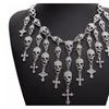 Trendy Skeleton skull Cross Crystal Gorgeous Necklace for Women