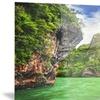 Cave Rocks on Railay Beach Landscape Metal Wall Art 28x12