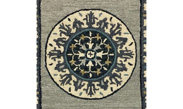 Medallion 3x5 Gray And Cream Bordered