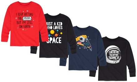 Toddler And Youth Kids Outer Space Galaxy Long Sleeve Tees