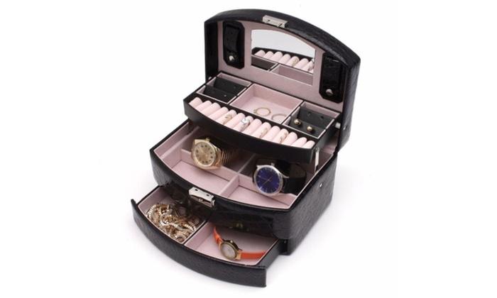 Multi Tier Black Leather Jewelry Box