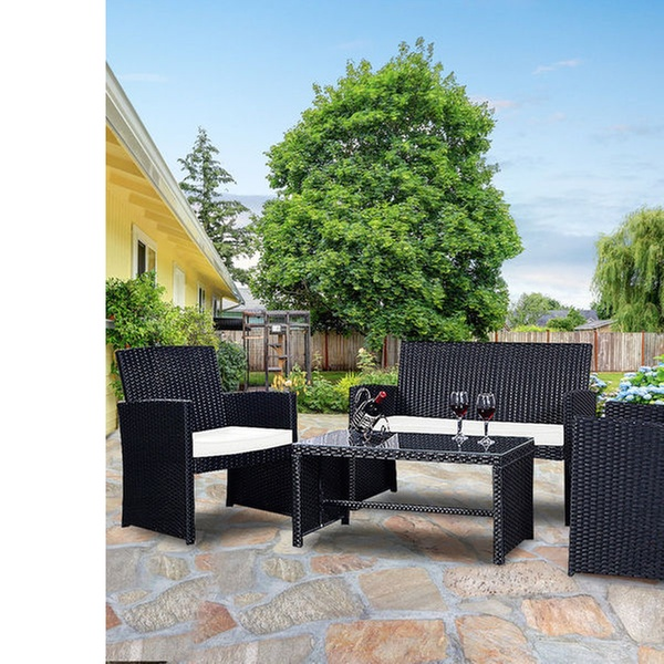Costway Rattan Patio Furniture Set With Cushioned Seats (4 Piece)