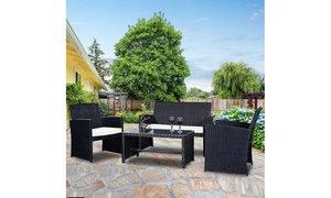 Costway Rattan Patio Furniture Set with Cushioned Seats (4-Piece)