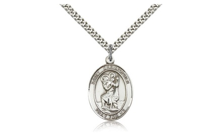 IceCarats Designer Jewelry Sterling Silver St. Christopher 1 X 3/4 Inch Necklace