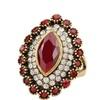 Retro inlaid diamond jewelry colorful diamond gold diamond ring