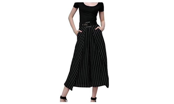 Women Summer Loose Pants High Waist Stripe Split Skirt