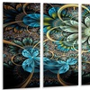 Lighted Blue Fractal Blue Flowers - Digital Art Floral Metal Wall Art