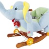 Rocking Plush Elephant 2-in-1 Wooden Rocker with Wheels by Happy Trails