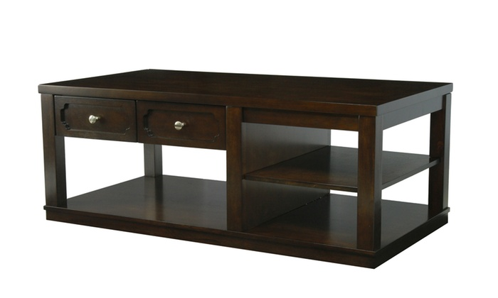 Furniture Of America Pieter 2 Drawer Coffee Table In Brown Cherry