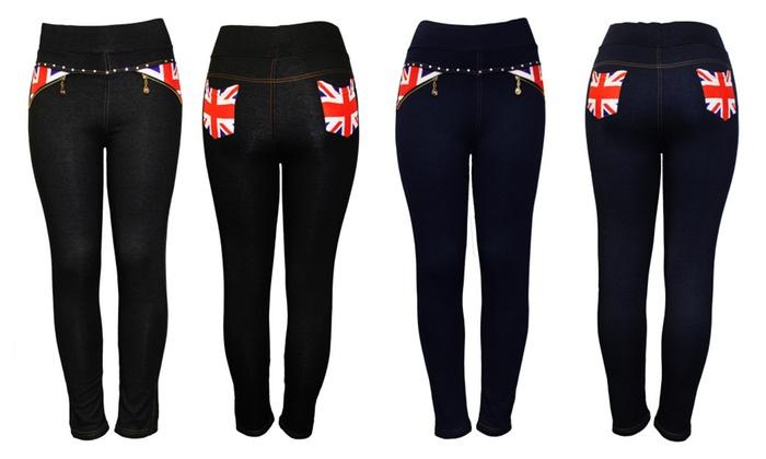 Women's Slim Fit Lined Rhinestone Pull On Pants UK Flag