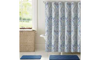 Shop Groupon Bath Rug, Shower Curtain, and Rollerball Hook Set (15-Piece)