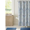 Bath Rug, Shower Curtain, and Rollerball Hook Set (15-Piece)