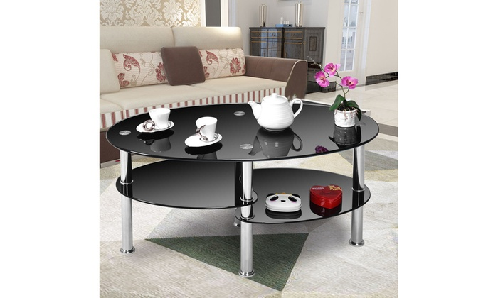 Tempered Glass Oval Side Coffee Table Shelf Chrome Base ...