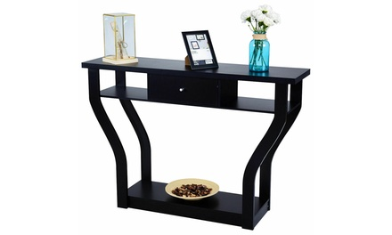 Costway Accent Console Table Modern Sofa Entryway Hallway Hall Furniture Black