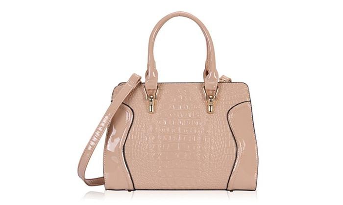 Victory Crocodile Pattern Top Handle Handbags - khaki / Large