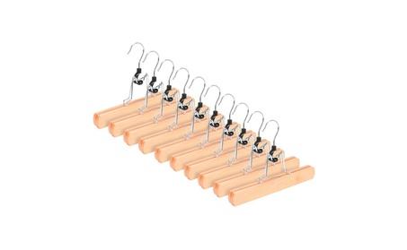 10-Pack Wooden Solid Hangers, Non Slip Collection Pants Hanger b9441dda-0fb1-4d50-be44-4e193ba6af26