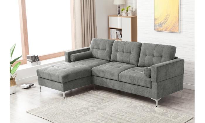 Reena Fabric Upholstered 2 Piece Sectional Sofa