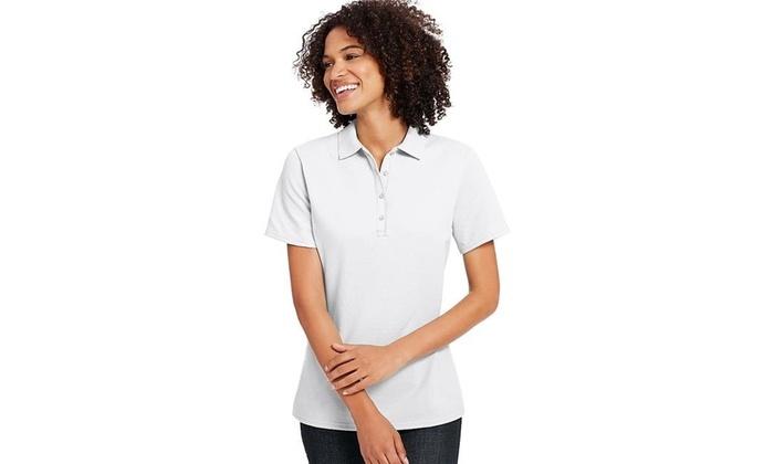 3bcb561d5 Hanes 90563851577 Womens X-Temp with Fresh IQ Pique Polo Shirt White - 2XL  One Size
