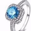 Blue CZ Cushion Cut Ring