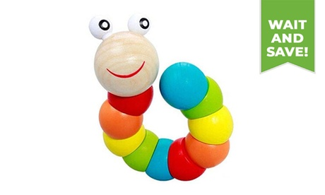Wooden Colorful Twisting Caterpillar Crawling Toy
