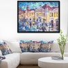 City at Night with People - Cityscape Framed Canvas Print