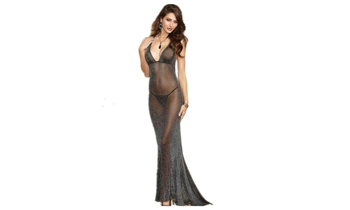 f29094e82 Women s Midnight Romance Lingerie Gown See Through Nightwear Black - Black    M