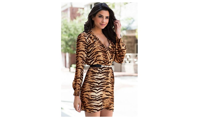 Women's Brown Multi Surplice Leopard Print Dress - one size