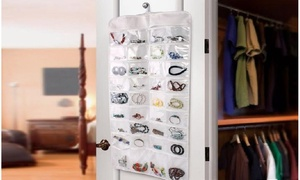 Double-Sided 72 Pocket Hanging Jewelry And Accessory Organizer
