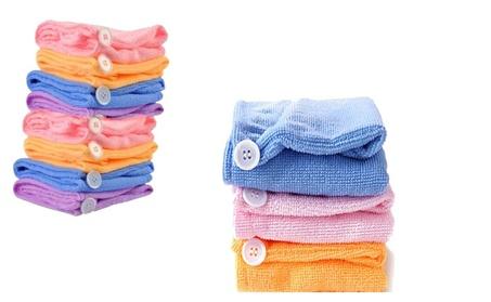 4 Packs Hair Drying Turban Towel Wrap Hat Microfiber 00a908a4-15e0-4a2c-a593-dace68b6bccd