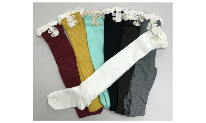 Cotton Crochet Knee High Socks with Lace - 6 Colors!