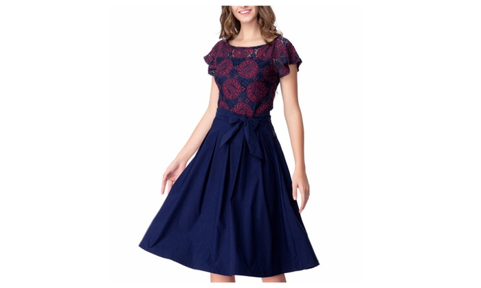 Women's Vintage 1950's Floral Lace Contrast Bow Cocktail Swing Dress