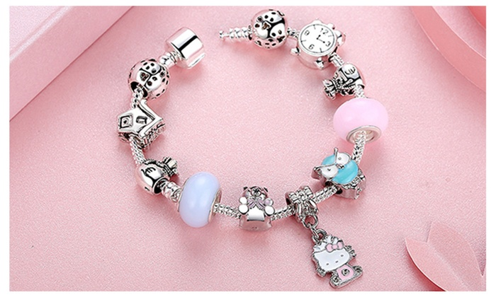 8e320a6f76248 Pandora Inspired 925 Silver Lovely Hello Kitty Charm Bracelet-2 ...