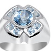 Orchid Jewelry 925 Sterling Silver 2 1/5 Carat Blue Topaz Halo Ring