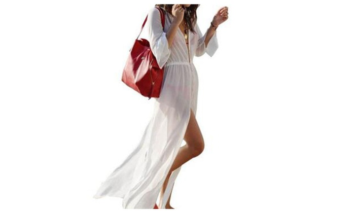 Beach Long Cover up Dress Cardigan - White / One Size