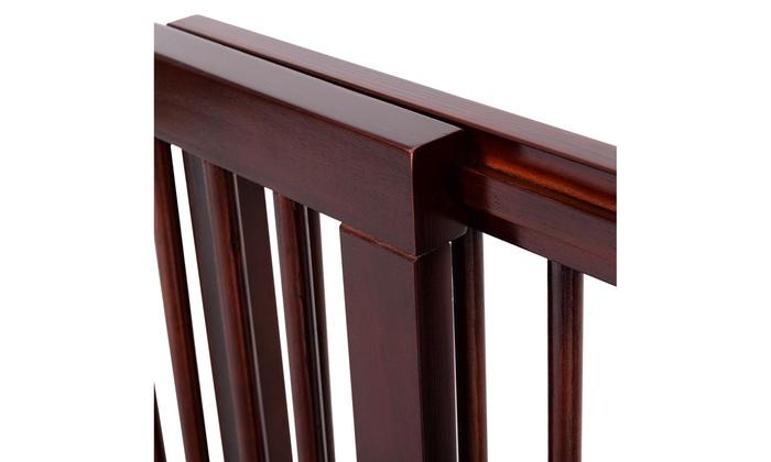 Folding Adjustable Free Standing 3 Panel Wood Pet Dog Slide Gate Safety Fence
