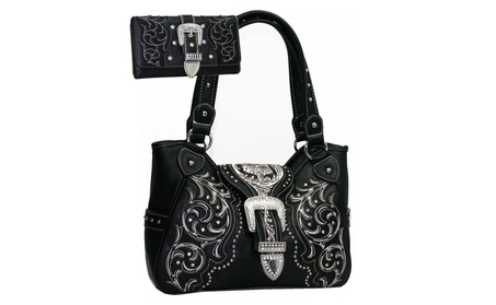 Western Studded Rhinestone Conealed Carry Gun Purse Wallet Set (Goods Women's Fashion Accessories Handbags) photo