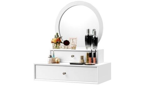 Costway Wall Mounted Vanity Mirror Makeup Dressing Home Space saving 2Drawer