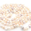 Pearl Beads Freshwater Knot Strand Long Necklace for Women