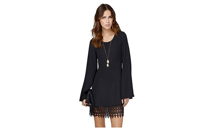 Women's Long Sleeve Chiffon A-Line Lace Stitching Trim Mini Dress