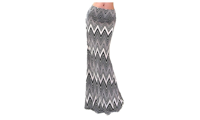 Chevron Striped Black Khaki High Waist Maxi Skirt U.S.A