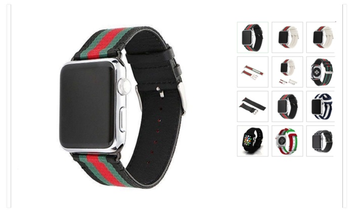 0713556f8cc Apple Gucci Pattern Watch Band Strap Sport Replacement Leather Band ...