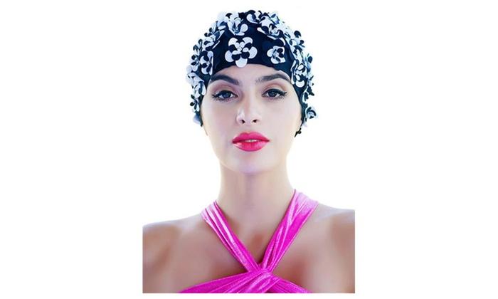 Ladies Petal Flower Vintage Style Swimming Hat Cap