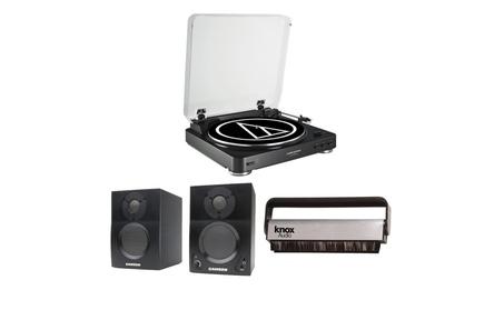 Audio Technica AT-LP60 Automatic Turntable w/ Samson SAMBT3 Monitors 068502c1-301c-479c-b90f-90051869f2d6