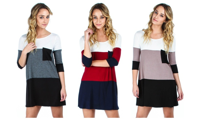 Women's Colorblock Dress With Pocket Available In Regular & Plus Sizes