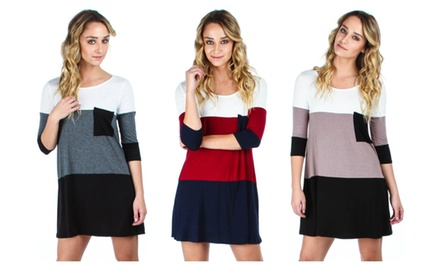 Women's Color Block Dress With Pocket Available In Regular & Plus Sizes