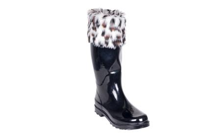 Women Black/White Faux Fur Mid Calf Rain Boots 5c246439-bd69-4325-a500-6eb73f20f3c4